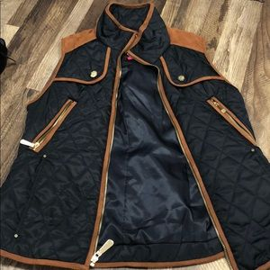 Navy and brown vest